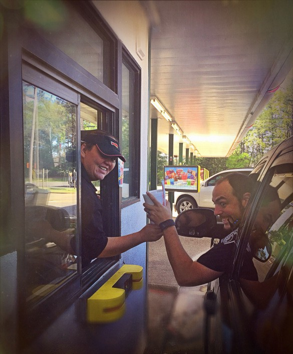 Joann Prosise works the drive-thru at Sonic in Hallsville. (Photo Brandon Sheffield)