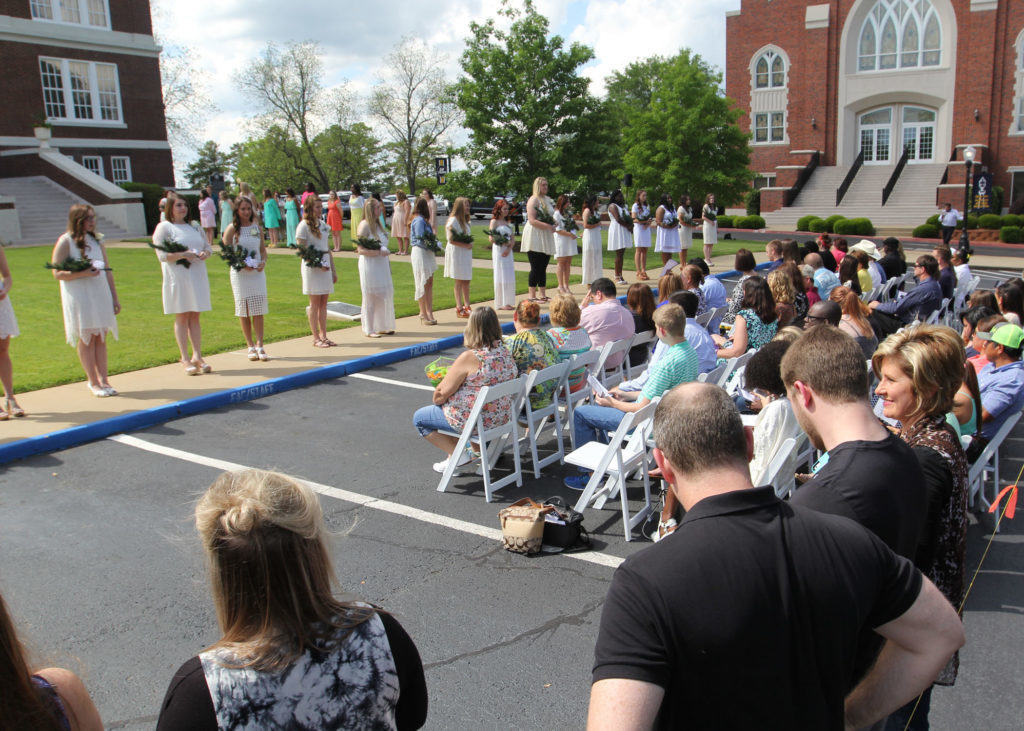 East Texas Baptist University's oldest, most honored tradition returned for its 69th year on Friday, April 15, naming the 2015-2016 Senior Girl Call-Out. The ceremony was held on the front lawn of Marshall Hall.  PHOTO: ETBU/Mike Midkiff.