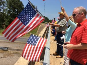 Harrison County citizens greet the riders in the Run for the Wall. (Photo by Becky Holland/PWN)