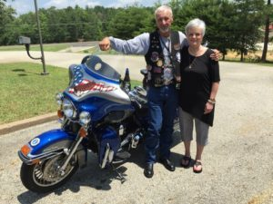 Melinda Gaulden presented her brother's ashes to the Patriot Rider. (Gaulden Family Photo)