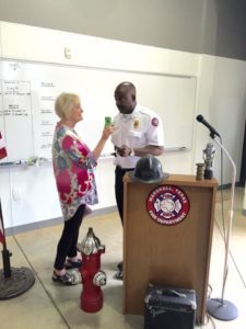 Chief Cooper was interviewed by Fran Hurley of KMHT-Radio at the event. (MFD Photos)