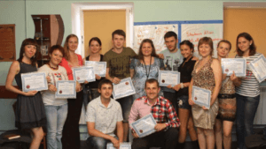Stephanie with one of her classes in Ukraine.