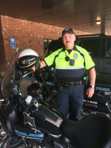 Sgt. Andy Nixon of the Marshall Police Department Traffic Division models the new uniform. (MPD Photo)