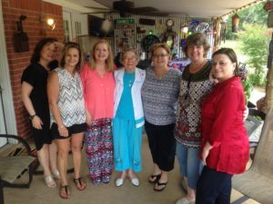 Camp Fire Reunion l-r: Laura Koenig Young, Nancy Jones Gaines, Judi Allen Carroll, Elizabeth Agnor, Dottiedee Agnor, Tami Young Alonzo, Martha Dieste Voss