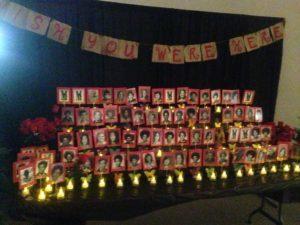 Memorial Table honoring 74 deceased classmates